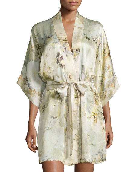 Magnolia Printed Short Wrap Robe