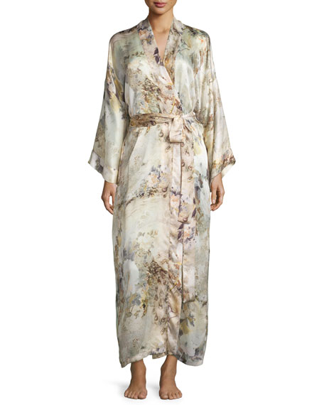 Christine Designs Magnolia Printed Long Wrap Robe