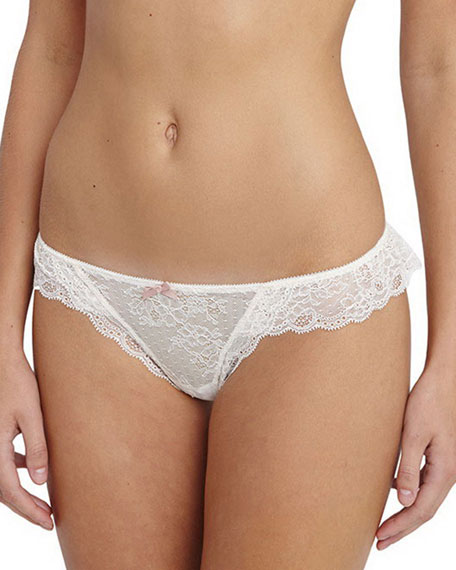 Eberjey Enchanted Ruffled-Lace Thong, Frosted Cream