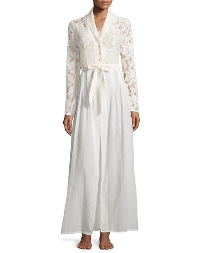 Phedra Lace-Bodice Long Robe, White