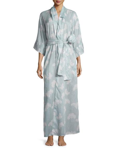 La Costa Isadora Floral-Print Kimono Robe, Light Blue