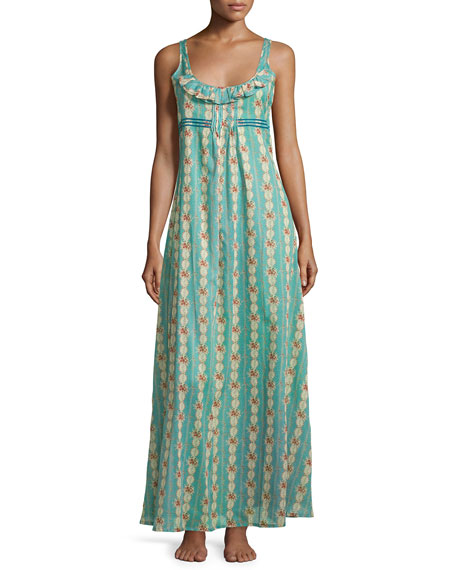 La Costa Del Algodon Circe Floral-Print Long Gown,