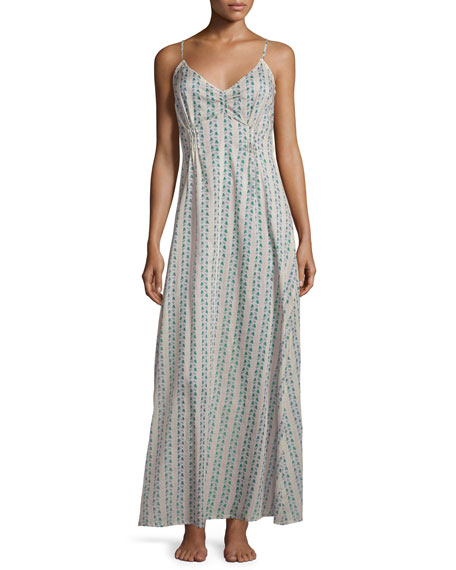 La Costa Clio Printed Long Gown, Teal