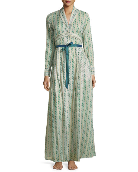 La CostaClio Printed Long Robe, Teal