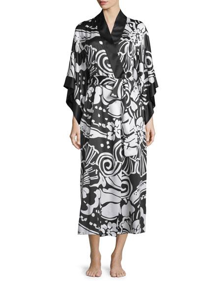 Natori Tuvala Floral-Print Robe, Black