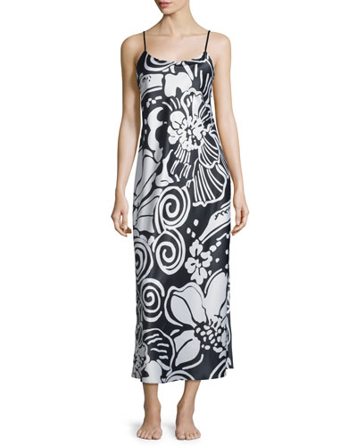 Tuvala Floral-Print Gown, Black