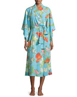 Peranakan Floral-Print Long Robe