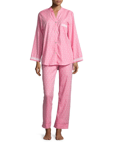 Oscar de la Renta Paisley-Print Long Pajama Set