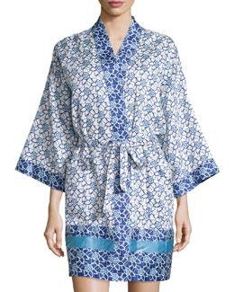 Lotus Printed Short Wrap Robe, Blue