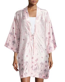 Long-Sleeve Printed Short Robe