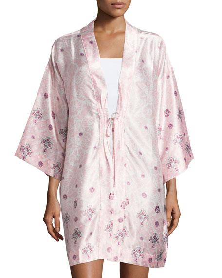 Oscar de la Renta Long-Sleeve Printed Short Robe