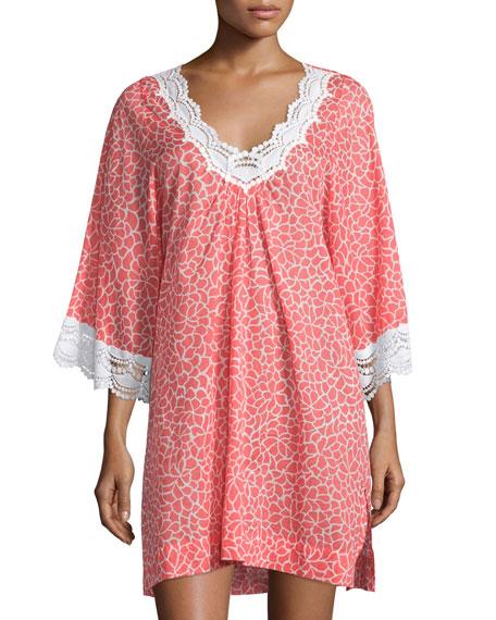 Oscar de la Renta Printed Lawn Lace-Trim Sleepshirt