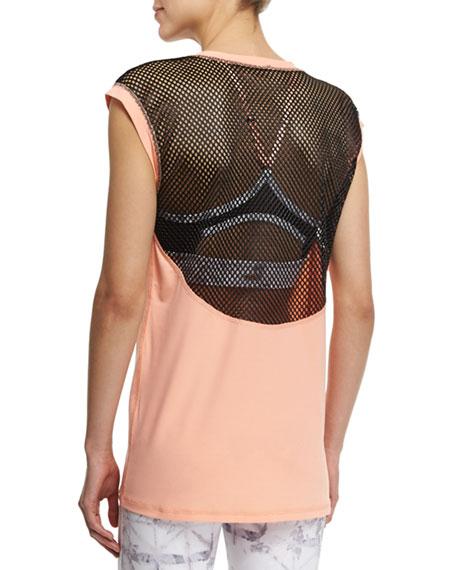 Mesh-Back Cap-Sleeve Sport Tee