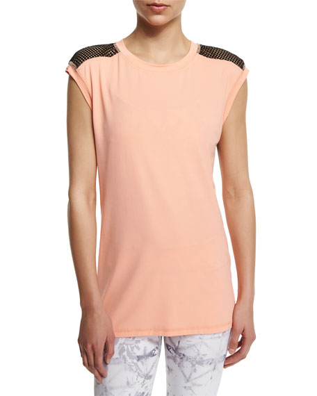 Alala Mesh-Back Cap-Sleeve Sport Tee, The Cut Printed