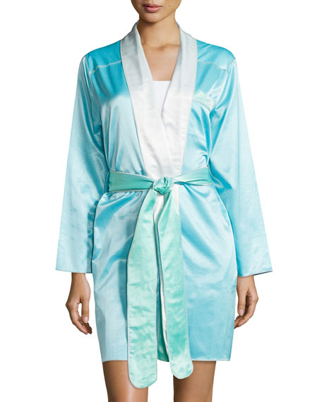 Louis at Home Riviera Satin Short Robe, Aqua/White