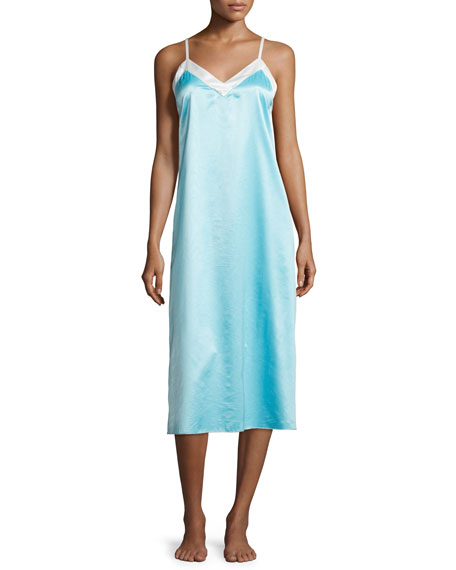 Louis at Home Chelsea Satin Long Gown, Aqua/White