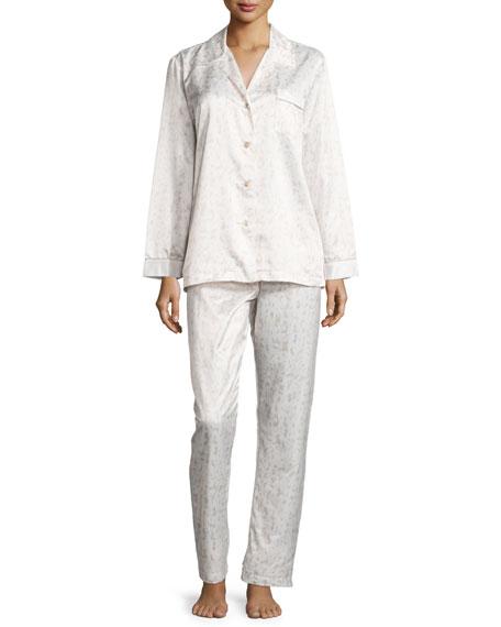 Louis at Home Monaco Fawn-Print Satin Pajama Set,