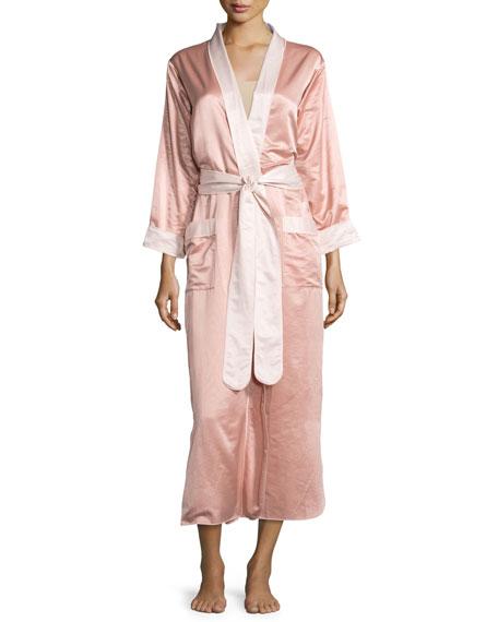 louis at home monte carlo satin long robe rose gold blush With robe rose gold
