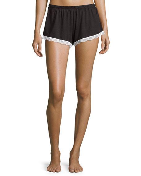 Majestic Lace-Trim Boxer Shorts, Black/White in Black White Multi