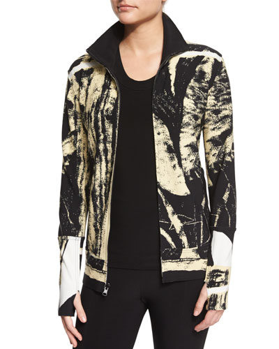 Printed Turtleneck Zip-Front Jacket, Wood Cut