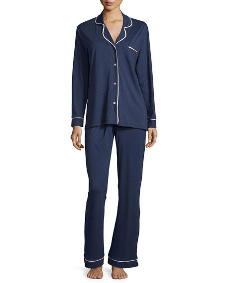 Cosabella Bella Long-Sleeve Pajama Set W/Piping, Navy/Ivory