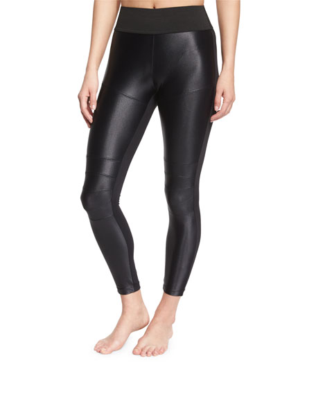 Koral Activewear Shiny Moto Sport Leggings, Black