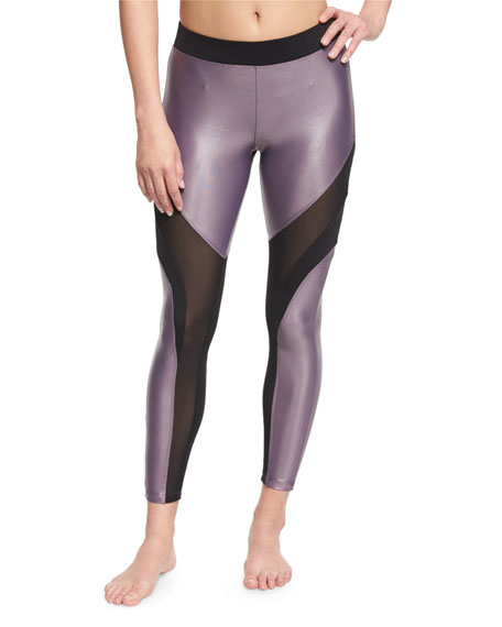 Koral Activewear Frame Mesh-Panel Sport Leggings, Plum/Black