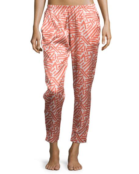 Hanro Mila Printed Silk Lounge Pants, Lobster