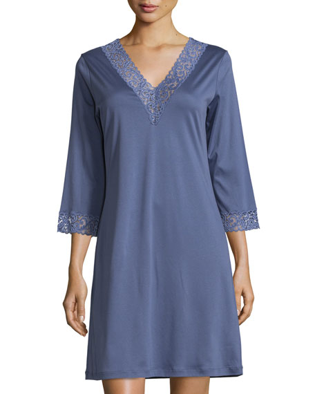 Hanro Moments Lace-Trim Gown, Indigo