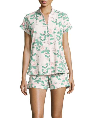 Camellia Floral-Print Shorty Pajama Set, Pink