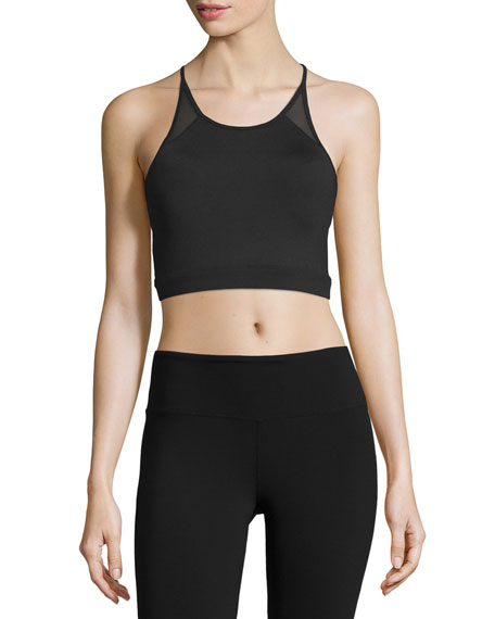 Alo Yoga Starlet Mesh-Panel Sports Bra, Black