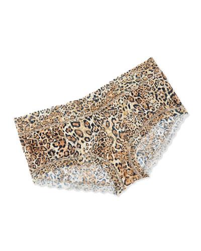 Printed Retro Lace Briefs, Leopard Nouveau, Plus Size
