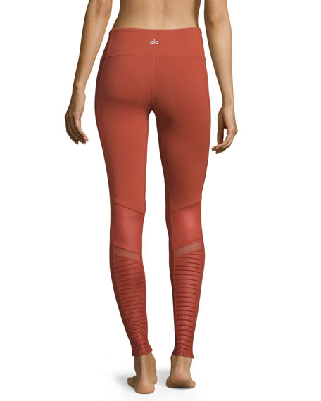 Moto Full-Length Sport Leggings, Sunbaked Glossy
