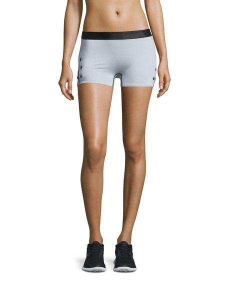 Monreal London Booty Boost Star-Print Sport Shorts, Gray