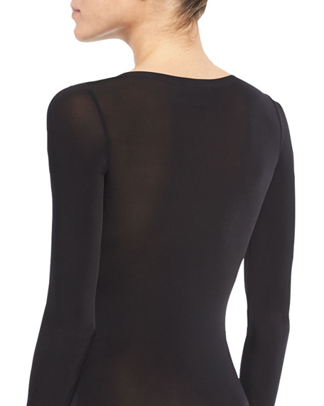 Buenos Aires Long-Sleeve String Bodysuit, Black