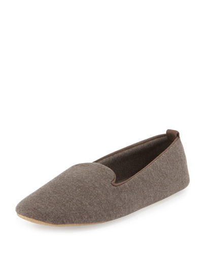 Cashmere-Blend Smoking Slipper, Mink