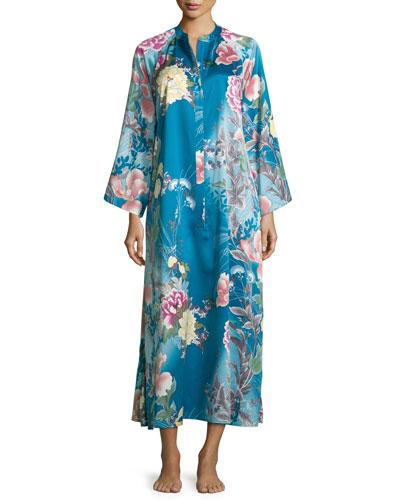 Serene Floral-Print Zip Caftan, Seaport Blue