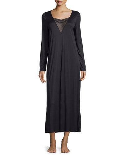 Eleonora Long-Sleeve Long Gown, Black