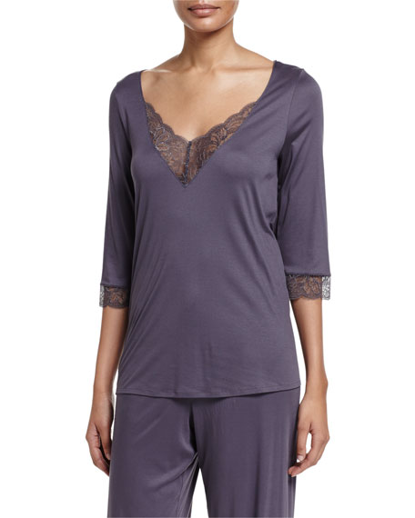 Hanro Ginevra 3/4-Sleeve Lounge Top, Basalt