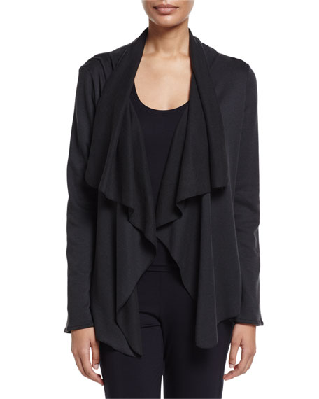 Hanro Cashmere-Blend Open-Front Cardigan, Phantom