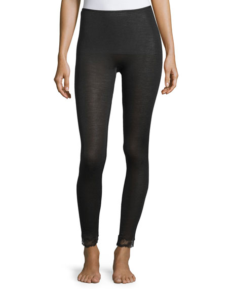 Hanro Woolen Lace-Trim Leggings, Black
