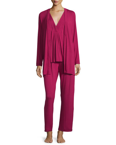 Lux Jersey 3-Piece Pajama Set, Ruby