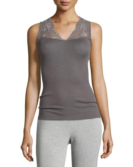 Hanro Seraphina Lace-Trim Wool-Silk Blend Tank Top, Warm