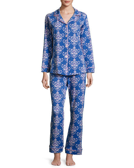 Damask-Print Pajama Set, Navy