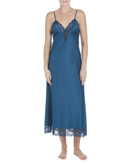 Jonquil Peacock Lace-Trimmed Satin Gown, Blue
