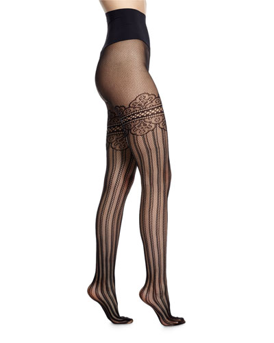 Colette Faux Thigh-High Tights, Black