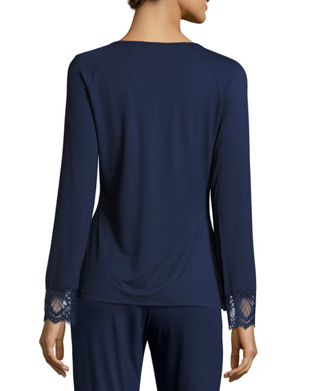 Cheyene Long-Sleeve Lounge Top, Navy