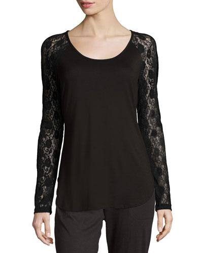 Arizona Lace-Sleeve Lounge Top, Black