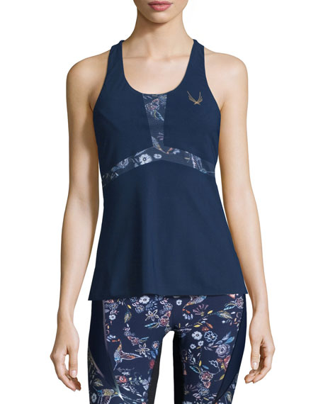 Lucas Hugh Selva Printed Technical-Knit Fitted Tank Top,