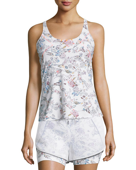 Lucas Hugh Inca Cutout-Back Fitted Tank, White Peru